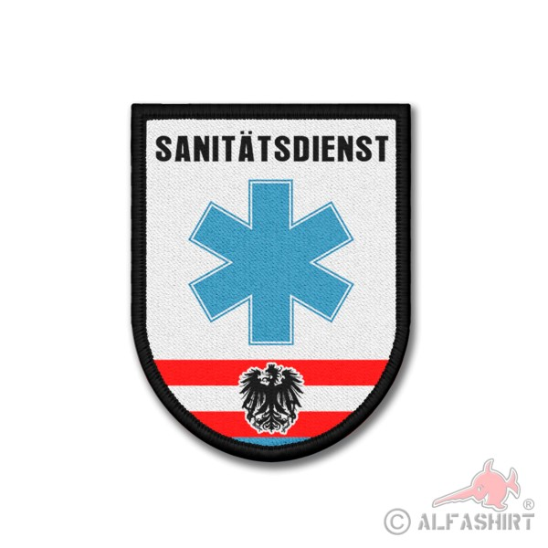 Patch Sanitätsdienst Polizei Österreich Sanitäter Abzeichen Klett 9x7cm #26183