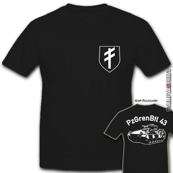 PzGrenBtl 43 Panzergrenadierbataillon Bundeswehr Panzer Wappen- T Shirt #12361