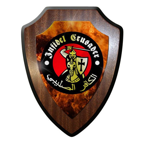 Wappenschild / Wandschild - Infidel Crusader Ritter Ungläubiger Christ #9728